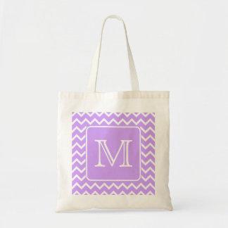 Purple and White Chevron Design. Custom Monogram. Tote Bag