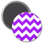 Purple and White Chevron Pattern 3 Inch Round Magnet