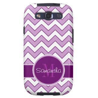Purple and White Chevron Pattern Custom Monogram Samsung Galaxy SIII Covers