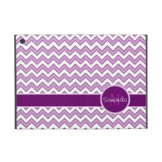 Purple and White Chevron Pattern Custom Monogram Cover For iPad Mini