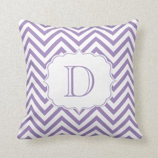 Purple and White Chevron Pattern Monogram Throw Pillow