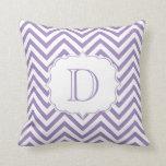 Purple and White Chevron Pattern Monogram Throw Pillows