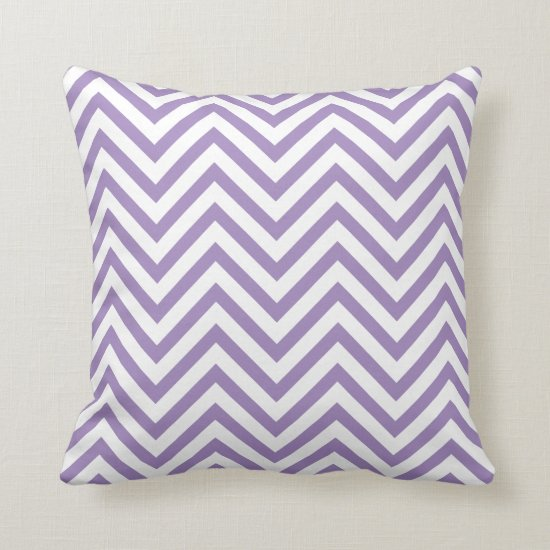 Purple and White Chevron Pattern Throw Pillow