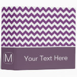 Purple and White Chevron Zigzag. Custom Monogram Vinyl Binder