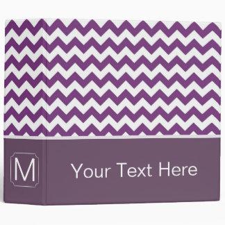 Purple and White Chevron Zigzag. Custom Monogram Binder