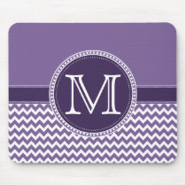 Purple and White Chevron Zigzag Monogram Wedding Mouse Pad