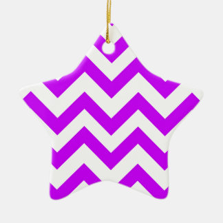 Purple And White Chevrons Ceramic Ornament