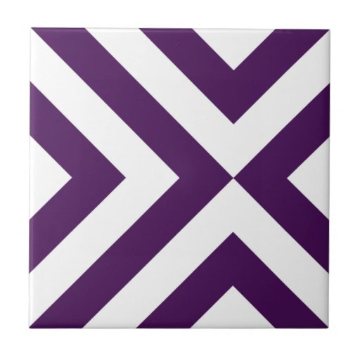 Purple and White Chevrons Ceramic Tiles