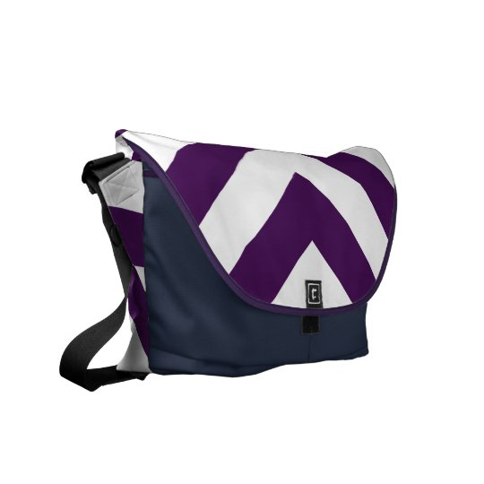 Purple and White Chevrons Courier Bag