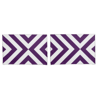 Purple and White Chevrons Geometric Pattern Pillow Case