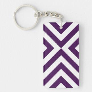 Purple and White Chevrons Rectangular Acrylic Key Chain