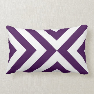 Purple and White Chevrons Lumbar Pillow