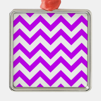 Purple And White Chevrons Metal Ornament