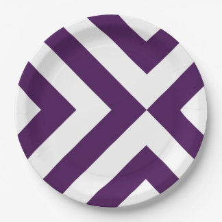 Purple and White Chevrons Paper Plate