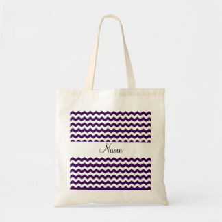 Purple and white chevrons personalized name canvas bag