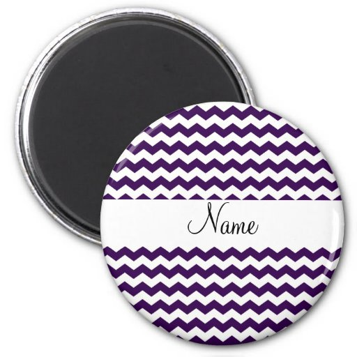 Purple and white chevrons personalized name 2 inch round magnet