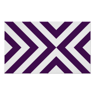 Purple and White Chevrons Poster
