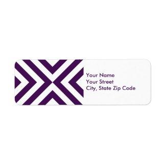 Purple and White Chevrons return address label label