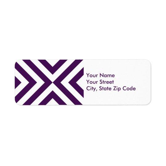 Purple and White Chevrons return address label