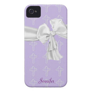 Purple and White Christian iPhone 4 Case
