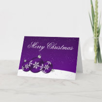 Purple and White Christmas Snowflake Ornaments Holiday Card