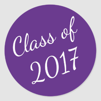 Purple and White Class of 2017 Graduation Stickers
