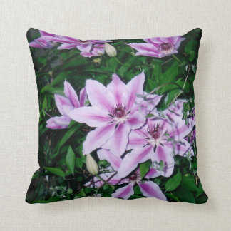 Purple and White Clematis Pillow