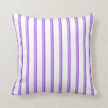 [ Thumbnail: Purple and White Colored Lines/Stripes Pattern Throw Pillow ]