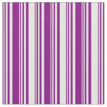 [ Thumbnail: Purple and White Colored Pattern of Stripes Fabric ]