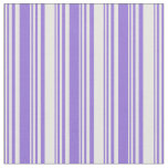 [ Thumbnail: Purple and White Colored Stripes Pattern Fabric ]