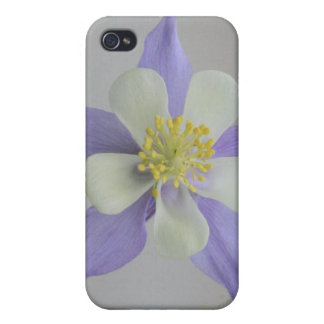 Purple and White Columbine 4/4s Cover For iPhone 4