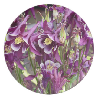 Purple and White Columbines Plate