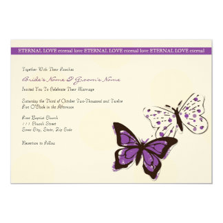 """Purple and White Cool Butterfly Wedding Invitation 5"""" X 7"""" Invitation Card"""