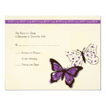 Purple and White Cool Butterfly Wedding RSVP Custom Invite