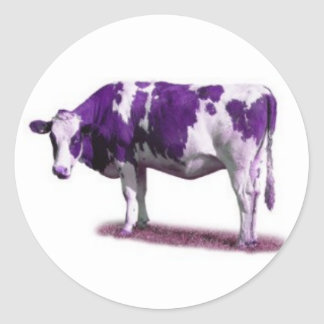 PURPLE and WHITE COW STICKERS