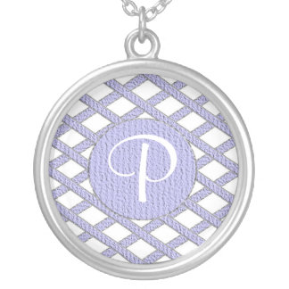 Purple and white crisscross monogram necklace