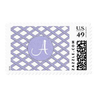Purple and white crisscross monogram stamps