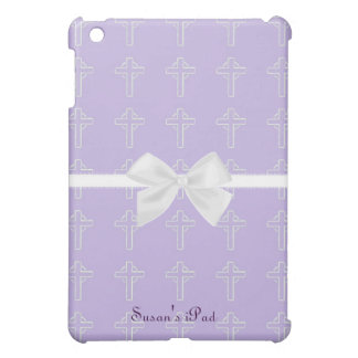 Purple and White Cross iPad Mini Case