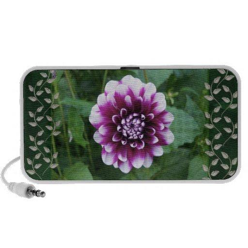 Purple and White Dahlia iPhone Speaker