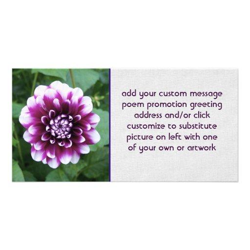 Purple and White Dahlia Personalized Photo Card