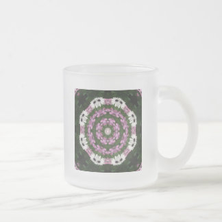 Purple and White Daisies Kaleidoscope 4 10 Oz Frosted Glass Coffee Mug