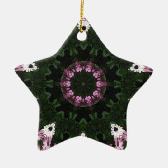 Purple and White Daisies Kaleidoscope 8 Ceramic Ornament