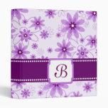 Purple and White Daisies Monogram 3 Ring Binders