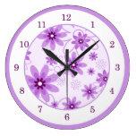 Purple and White Daisies Round Clocks