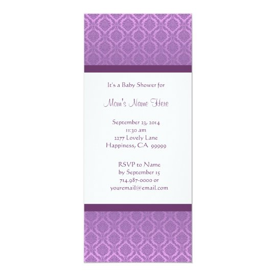 Purple and White Damask Baby Shower Invitations