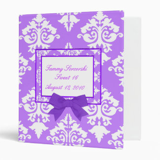 Purple and white damask Binder