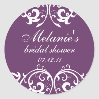 Purple and White Damask Bridal Shower Sticker
