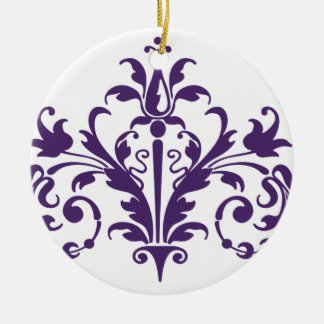 Purple and White Damask Christmas Ornament