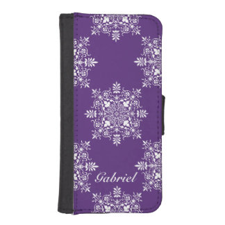 Purple and White Damask Design iPhone SE/5/5s Wallet