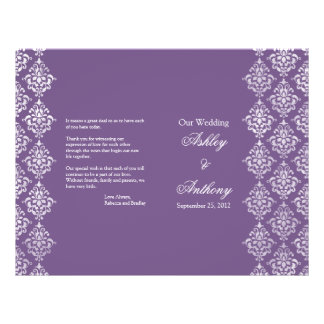 Purple and White Damask Foldable Wedding Program